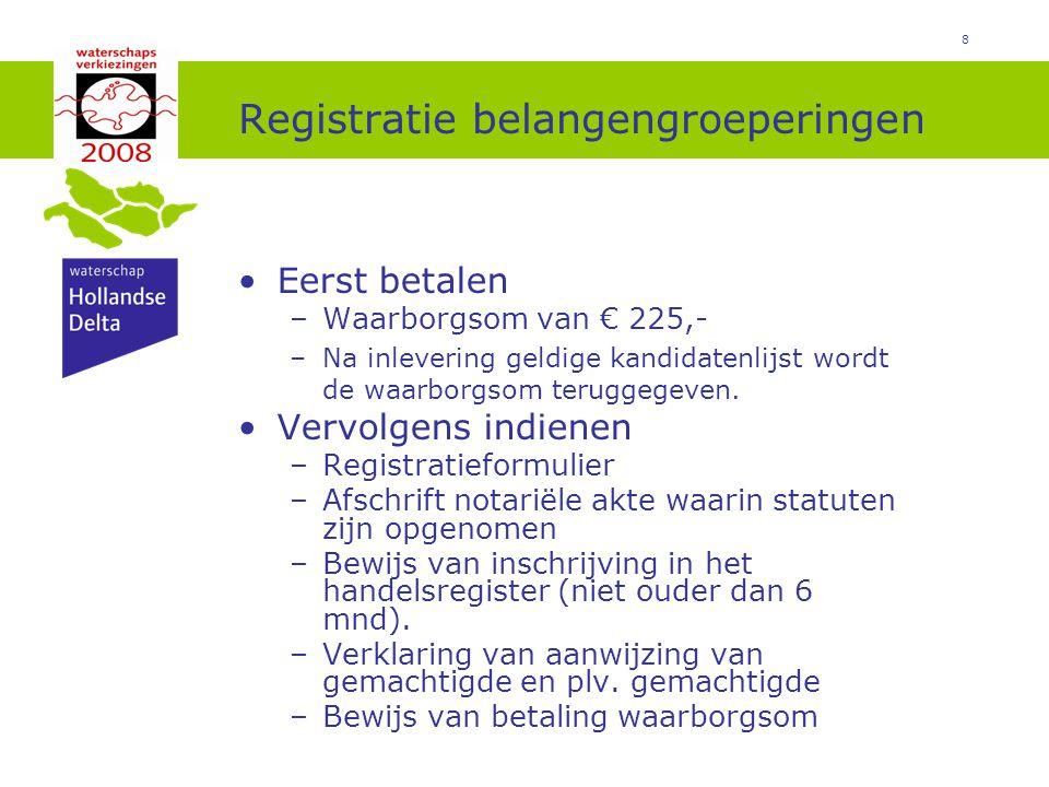 8 Registratie belangengroeperingen Eerst betalen –Waarborgsom van € 225,- –Na inlevering geldige kandidatenlijst wordt de waarborgsom teruggegeven.