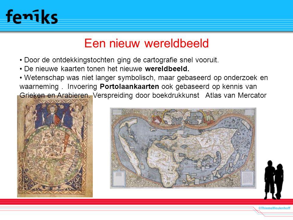 Een nieuw wereldbeeld Door de ontdekkingstochten ging de cartografie snel vooruit. De nieuwe kaarten tonen het nieuwe wereldbeeld. Wetenschap was niet