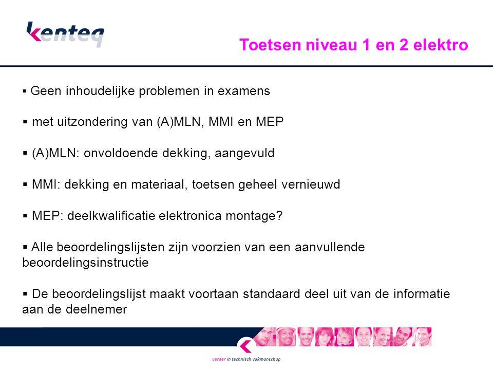  Geen inhoudelijke problemen in examens  met uitzondering van (A)MLN, MMI en MEP  (A)MLN: onvoldoende dekking, aangevuld  MMI: dekking en materiaa