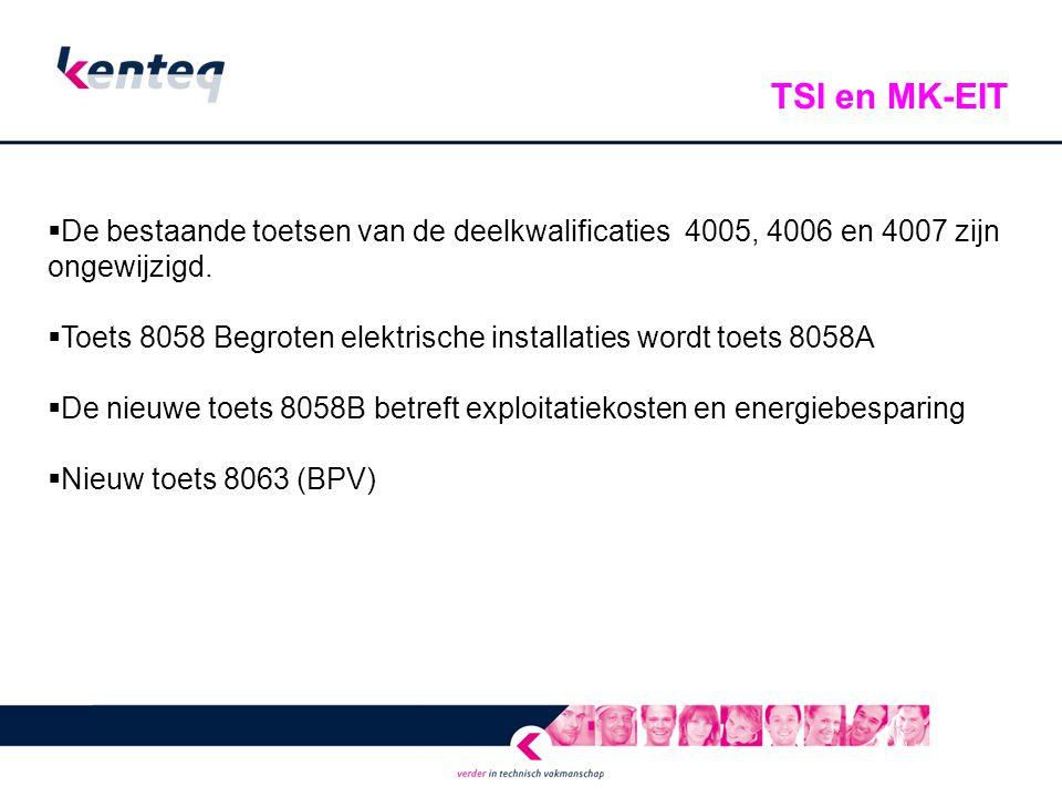  De bestaande toetsen van de deelkwalificaties 4005, 4006 en 4007 zijn ongewijzigd.  Toets 8058 Begroten elektrische installaties wordt toets 8058A