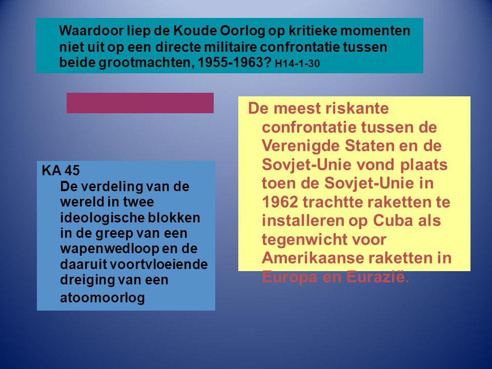 Waardoor liep de Koude Oorlog op kritieke momenten niet uit op een directe militaire confrontatie tussen beide grootmachten, 1955-1963? H14-1-30 De me