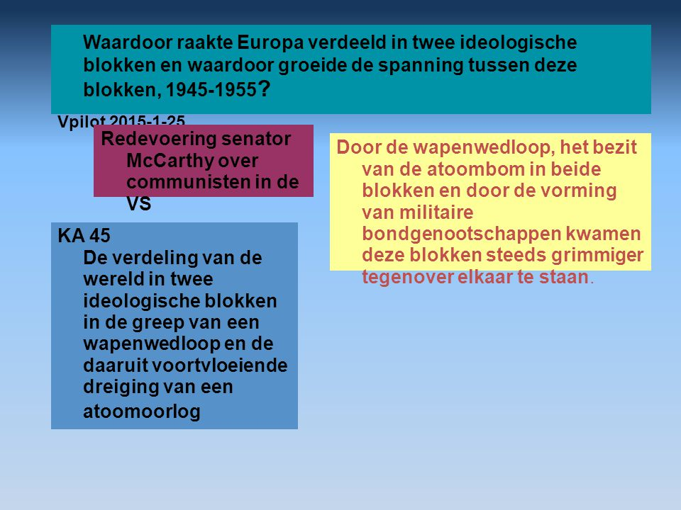Waardoor raakte Europa verdeeld in twee ideologische blokken en waardoor groeide de spanning tussen deze blokken, 1945-1955 ? Vpilot 2015-1-25 Door de