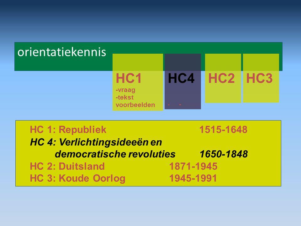 orientatiekennis HC1 -vraag -tekst voorbeelden HC4- HC2HC3 HC 1: Republiek 1515-1648 HC 4: Verlichtingsideeën en democratische revoluties1650-1848 HC