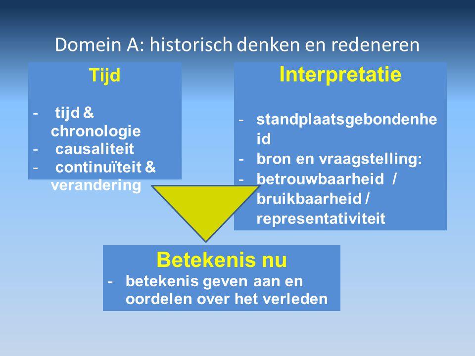 Domein A: historisch denken en redeneren Interpretatie -standplaatsgebondenhe id -bron en vraagstelling: -betrouwbaarheid / bruikbaarheid / representa