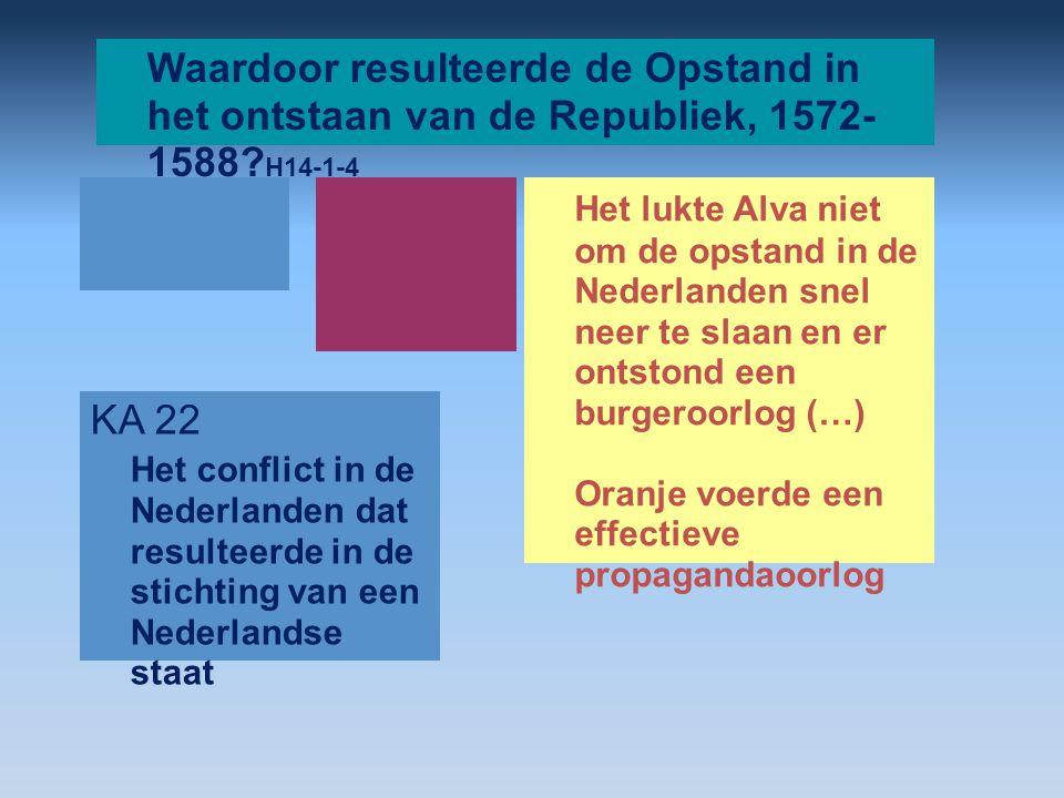 Waardoor resulteerde de Opstand in het ontstaan van de Republiek, 1572- 1588? H14-1-4 Het lukte Alva niet om de opstand in de Nederlanden snel neer te