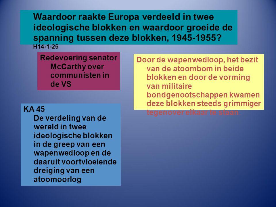 Waardoor raakte Europa verdeeld in twee ideologische blokken en waardoor groeide de spanning tussen deze blokken, 1945-1955? H14-1-26 Door de wapenwed