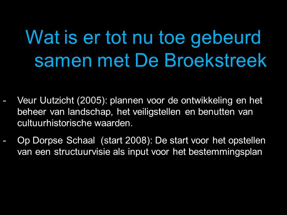 Wat is er tot nu toe gebeurd samen met De Broekstreek - Veur Uutzicht (2005): plannen voor de ontwikkeling en het beheer van landschap, het veiligstel