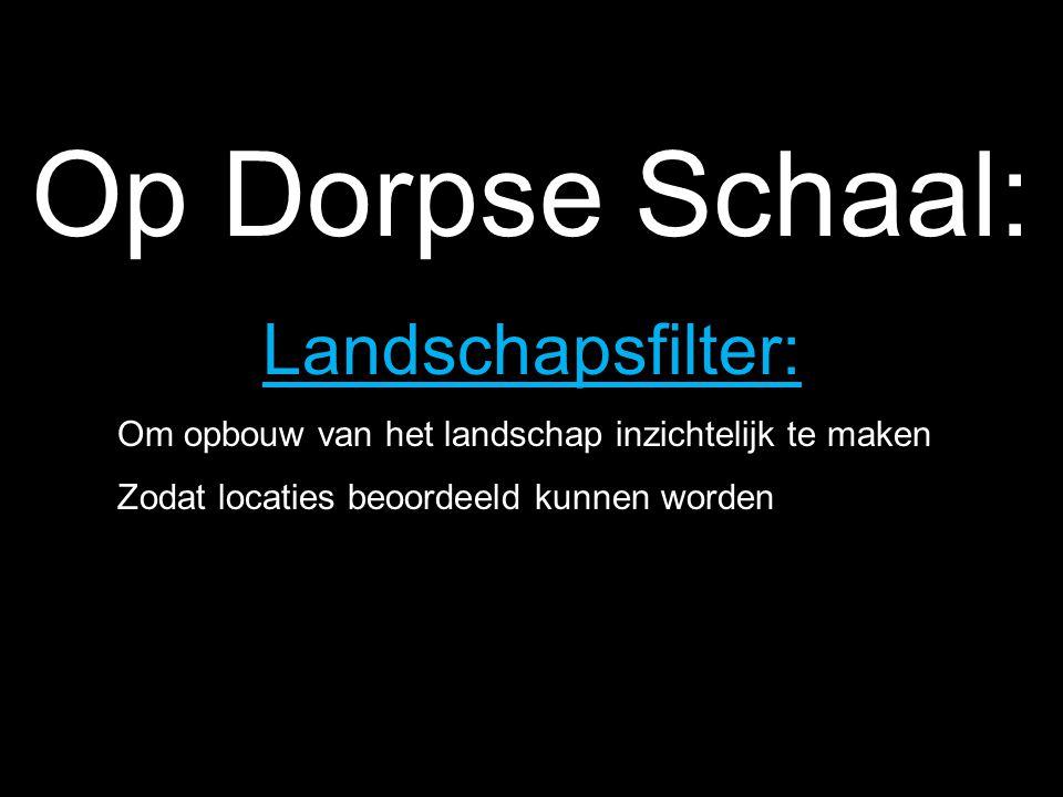 Op Dorpse Schaal: Landschapsfilter: Om opbouw van het landschap inzichtelijk te maken Zodat locaties beoordeeld kunnen worden