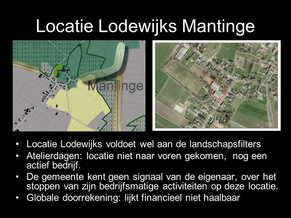 Locatie Lodewijks Mantinge Locatie Lodewijks voldoet wel aan de landschapsfilters Atelierdagen: locatie niet naar voren gekomen, nog een actief bedrij