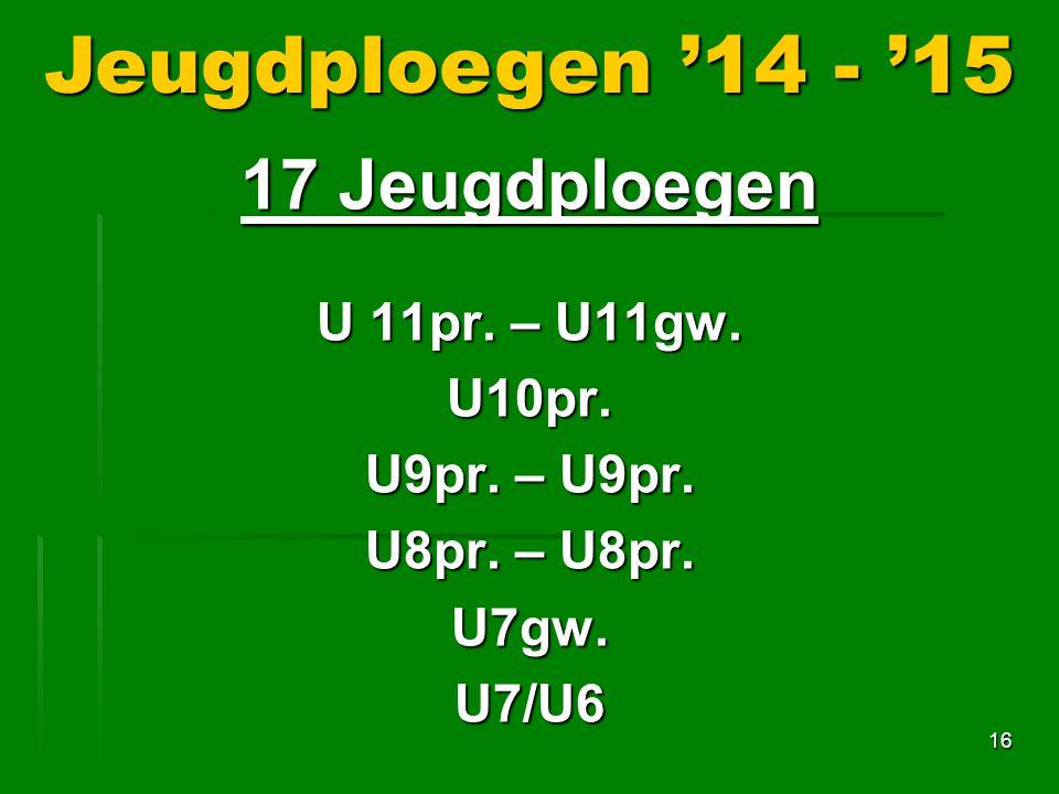 16 Jeugdploegen '14 - '15 17 Jeugdploegen U 11pr.– U11gw.