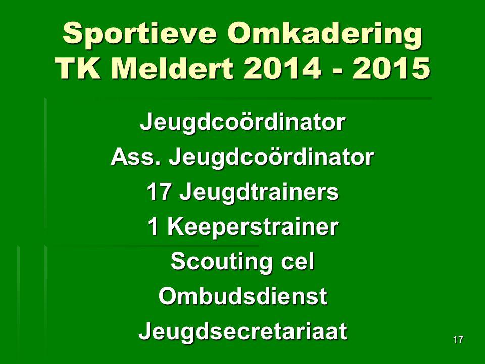 Sportieve Omkadering TK Meldert 2014 - 2015 Jeugdcoördinator Ass.