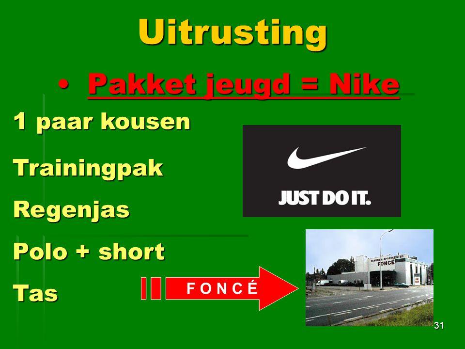 Pakket jeugd = NikePakket jeugd = Nike 31Uitrusting 1 paar kousen 1 paar kousen Trainingpak Trainingpak Regenjas Regenjas Polo + short Polo + short Tas Tas F O N C É
