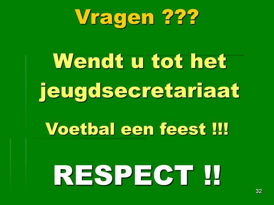 Wendt u tot het jeugdsecretariaat 32 Vragen ??? Voetbal een feest !!! RESPECT !!