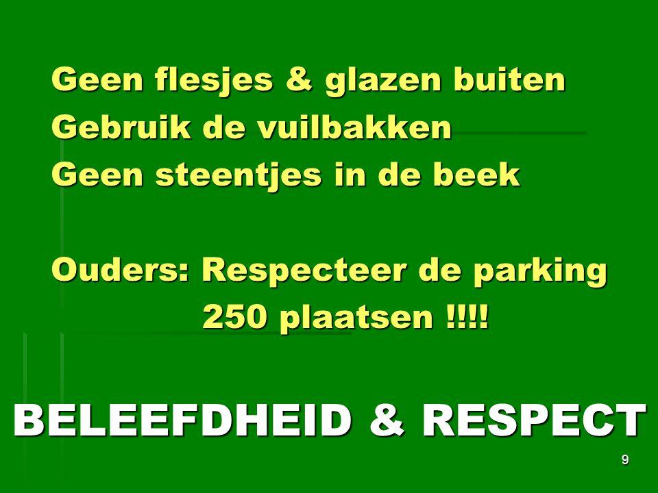 Geen flesjes & glazen buiten Gebruik de vuilbakken Gebruik de vuilbakken Geen steentjes in de beek Ouders: Respecteer de parking 250 plaatsen !!!.