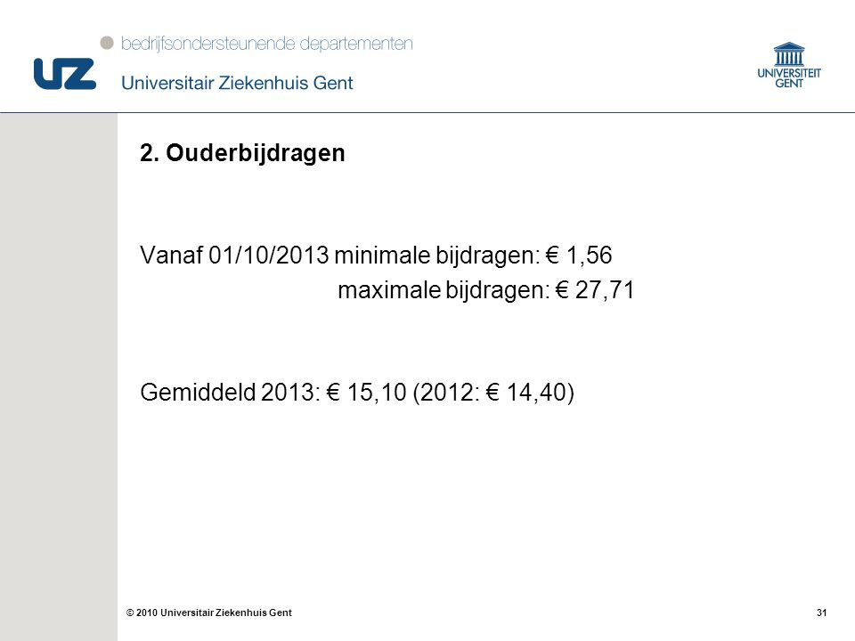 31© 2010 Universitair Ziekenhuis Gent 2. Ouderbijdragen Vanaf 01/10/2013 minimale bijdragen: € 1,56 maximale bijdragen: € 27,71 Gemiddeld 2013: € 15,1