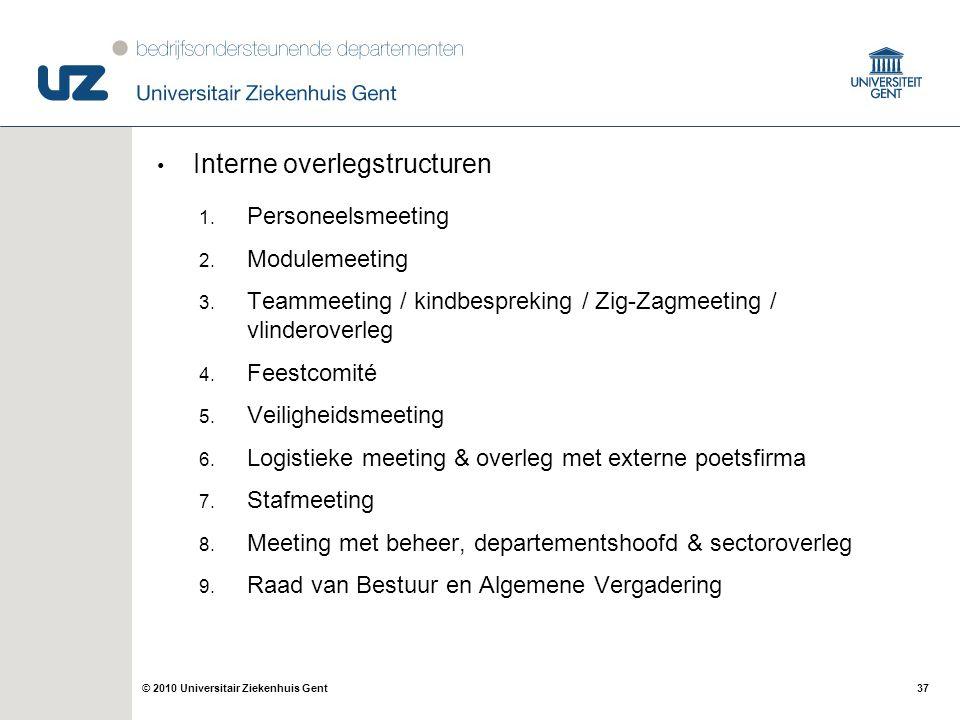 37© 2010 Universitair Ziekenhuis Gent Interne overlegstructuren 1. Personeelsmeeting 2. Modulemeeting 3. Teammeeting / kindbespreking / Zig-Zagmeeting