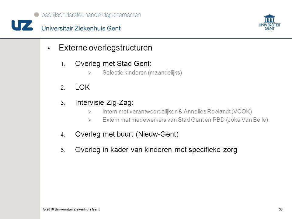 38© 2010 Universitair Ziekenhuis Gent Externe overlegstructuren 1. Overleg met Stad Gent:  Selectie kinderen (maandelijks) 2. LOK 3. Intervisie Zig-Z