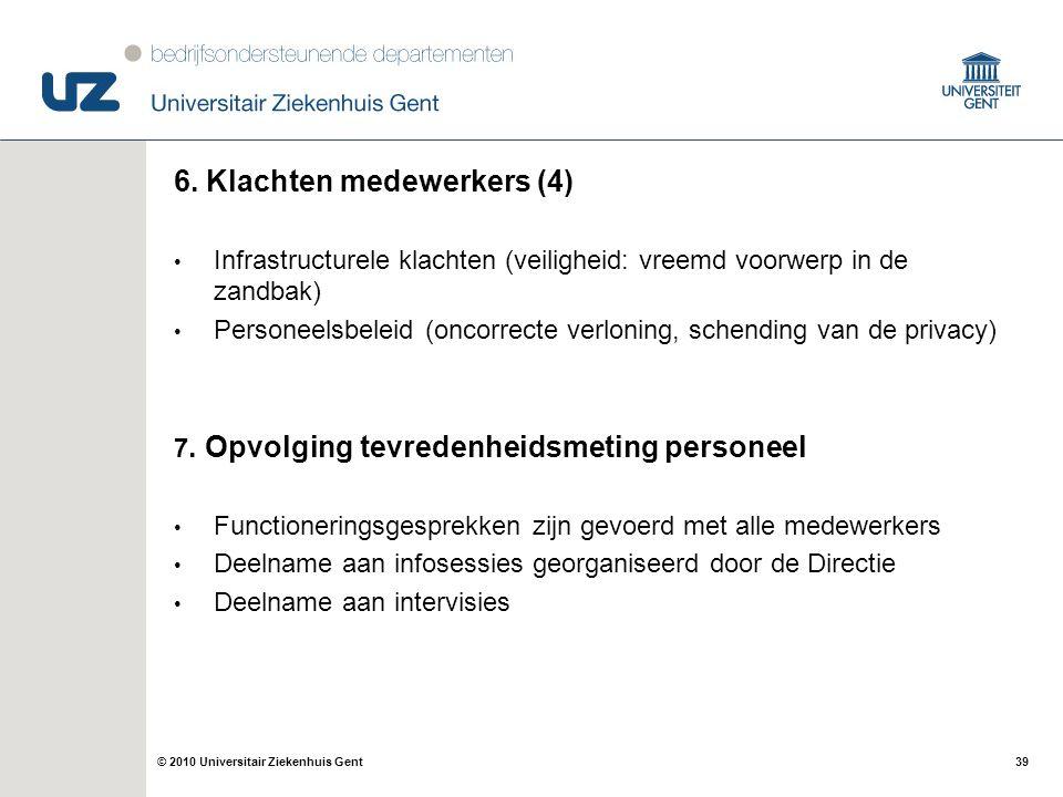 39© 2010 Universitair Ziekenhuis Gent 6. Klachten medewerkers (4) Infrastructurele klachten (veiligheid: vreemd voorwerp in de zandbak) Personeelsbele