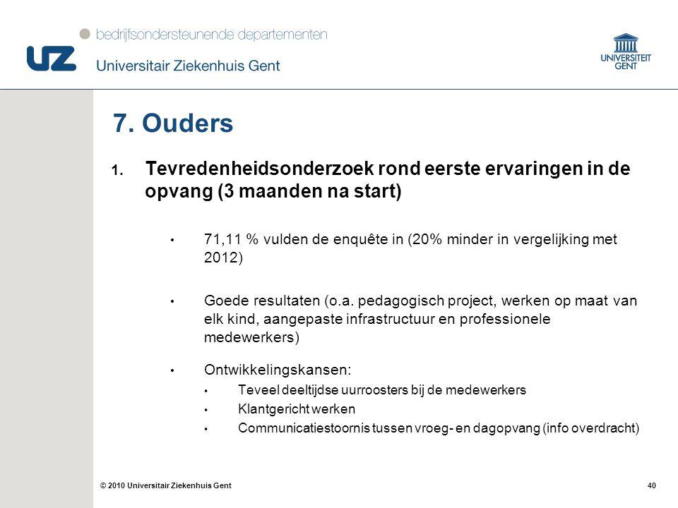 40© 2010 Universitair Ziekenhuis Gent 7. Ouders 1. Tevredenheidsonderzoek rond eerste ervaringen in de opvang (3 maanden na start) 71,11 % vulden de e