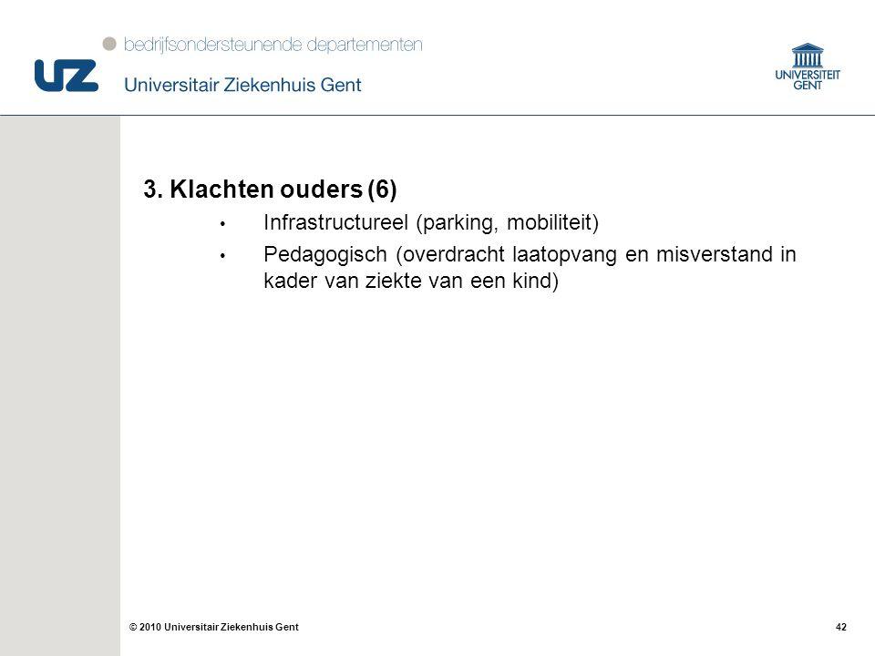 42© 2010 Universitair Ziekenhuis Gent 3. Klachten ouders (6) Infrastructureel (parking, mobiliteit) Pedagogisch (overdracht laatopvang en misverstand