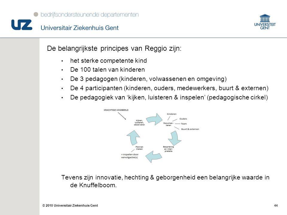 44© 2010 Universitair Ziekenhuis Gent De belangrijkste principes van Reggio zijn: het sterke competente kind De 100 talen van kinderen De 3 pedagogen