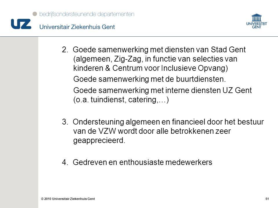 51© 2010 Universitair Ziekenhuis Gent 2. Goede samenwerking met diensten van Stad Gent (algemeen, Zig-Zag, in functie van selecties van kinderen & Cen