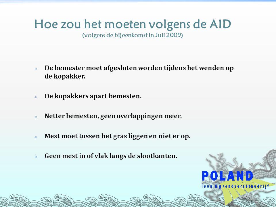 Hoe zou het moeten volgens de AID (volgens de bijeenkomst in Juli 2009)  De bemester moet afgesloten worden tijdens het wenden op de kopakker.  De k