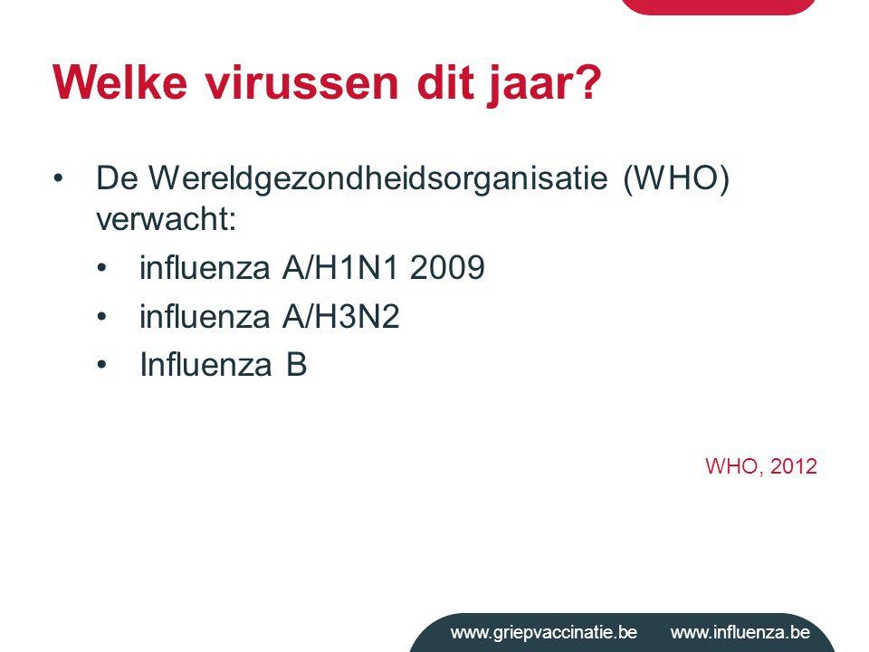 www.griepvaccinatie.be www.influenza.be Welke virussen dit jaar? De Wereldgezondheidsorganisatie (WHO) verwacht: influenza A/H1N1 2009 influenza A/H3N