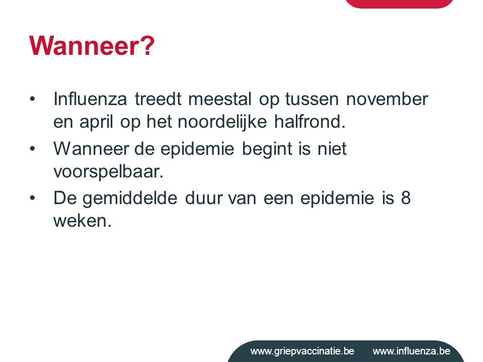 www.griepvaccinatie.be www.influenza.be Wanneer? Influenza treedt meestal op tussen november en april op het noordelijke halfrond. Wanneer de epidemie
