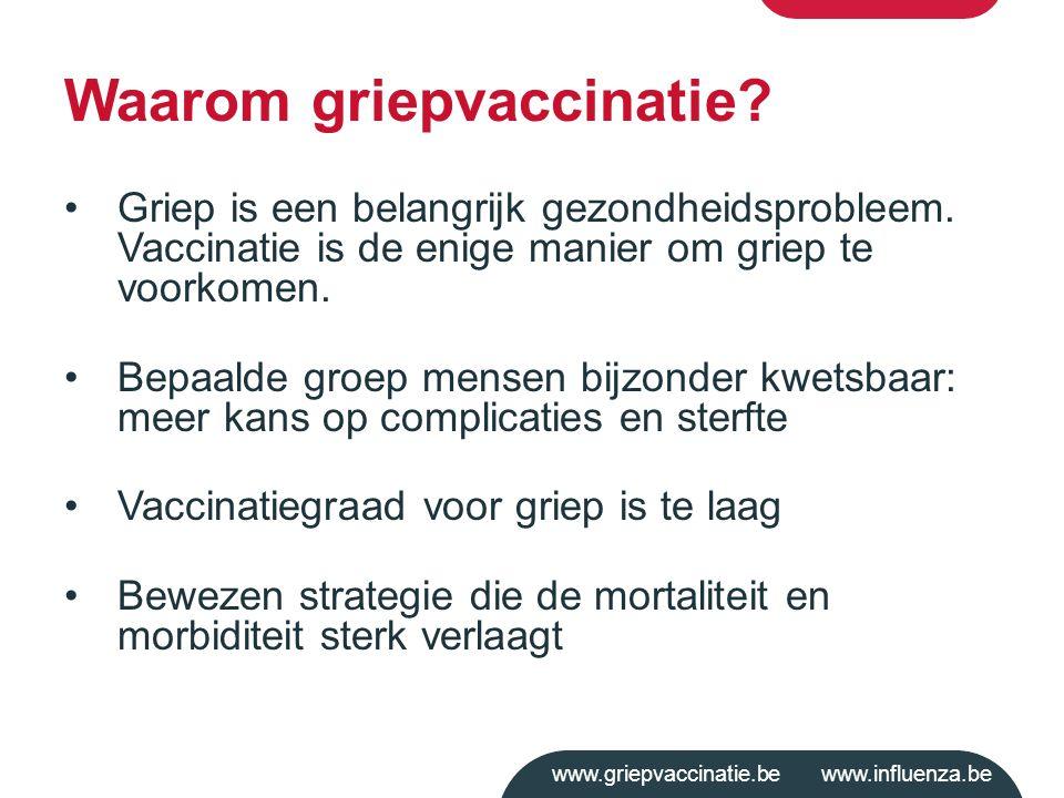 www.griepvaccinatie.be www.influenza.be Griep is een belangrijk gezondheidsprobleem. Vaccinatie is de enige manier om griep te voorkomen. Bepaalde gro