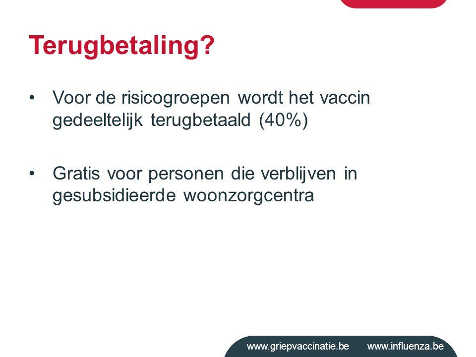 www.griepvaccinatie.be www.influenza.be Terugbetaling? Voor de risicogroepen wordt het vaccin gedeeltelijk terugbetaald (40%) Gratis voor personen die