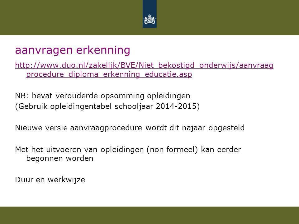 aanvragen erkenning http://www.duo.nl/zakelijk/BVE/Niet_bekostigd_onderwijs/aanvraag procedure_diploma_erkenning_educatie.asp NB: bevat verouderde ops