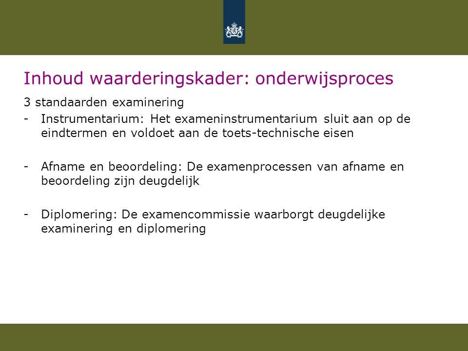 Inhoud waarderingskader: onderwijsproces 3 standaarden examinering -Instrumentarium: Het exameninstrumentarium sluit aan op de eindtermen en voldoet a
