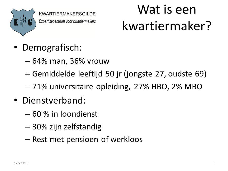 Wat is een kwartiermaker? 4-7-20135 Demografisch: – 64% man, 36% vrouw – Gemiddelde leeftijd 50 jr (jongste 27, oudste 69) – 71% universitaire opleidi