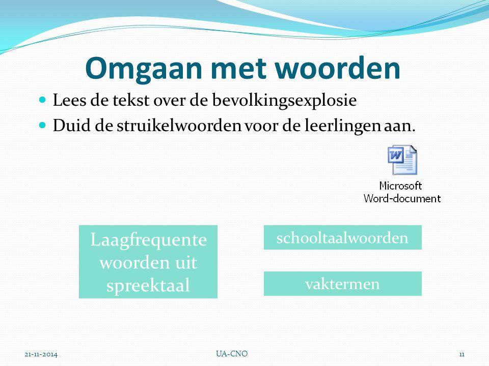 21-11-2014UA-CNO11 Omgaan met woorden Lees de tekst over de bevolkingsexplosie Duid de struikelwoorden voor de leerlingen aan.