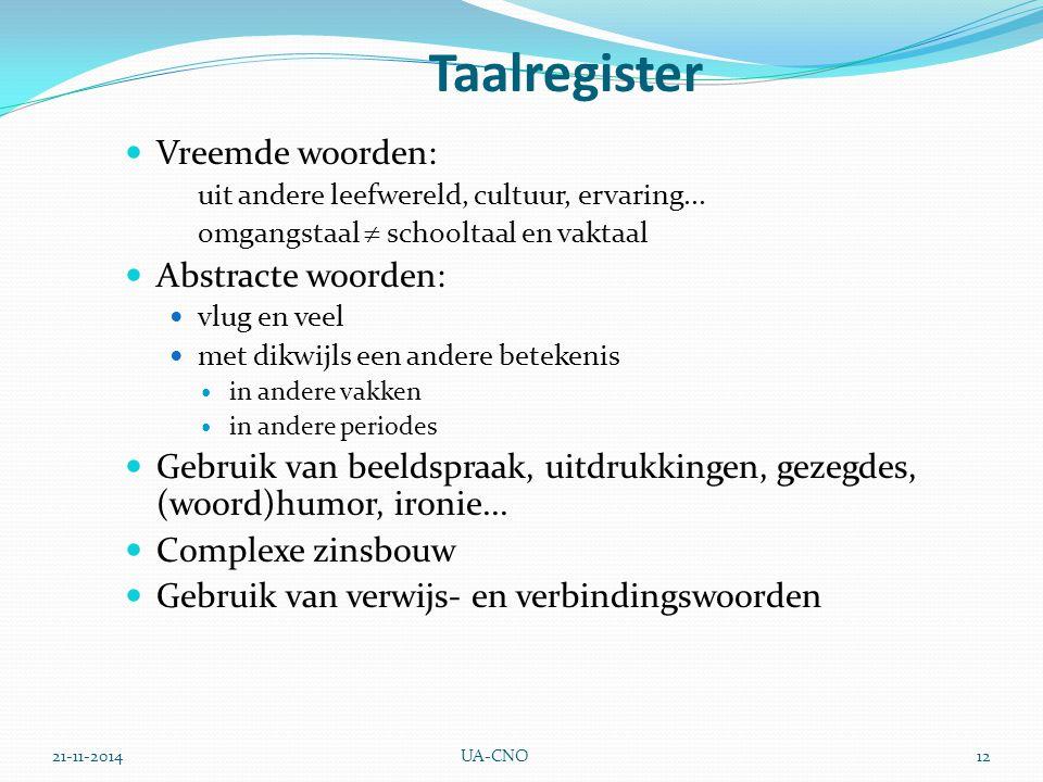 21-11-2014UA-CNO12 Taalregister Vreemde woorden: uit andere leefwereld, cultuur, ervaring... omgangstaal  schooltaal en vaktaal Abstracte woorden: vl