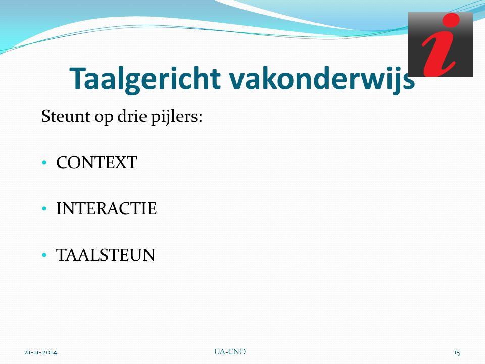 21-11-2014UA-CNO15 Taalgericht vakonderwijs Steunt op drie pijlers: CONTEXT INTERACTIE TAALSTEUN
