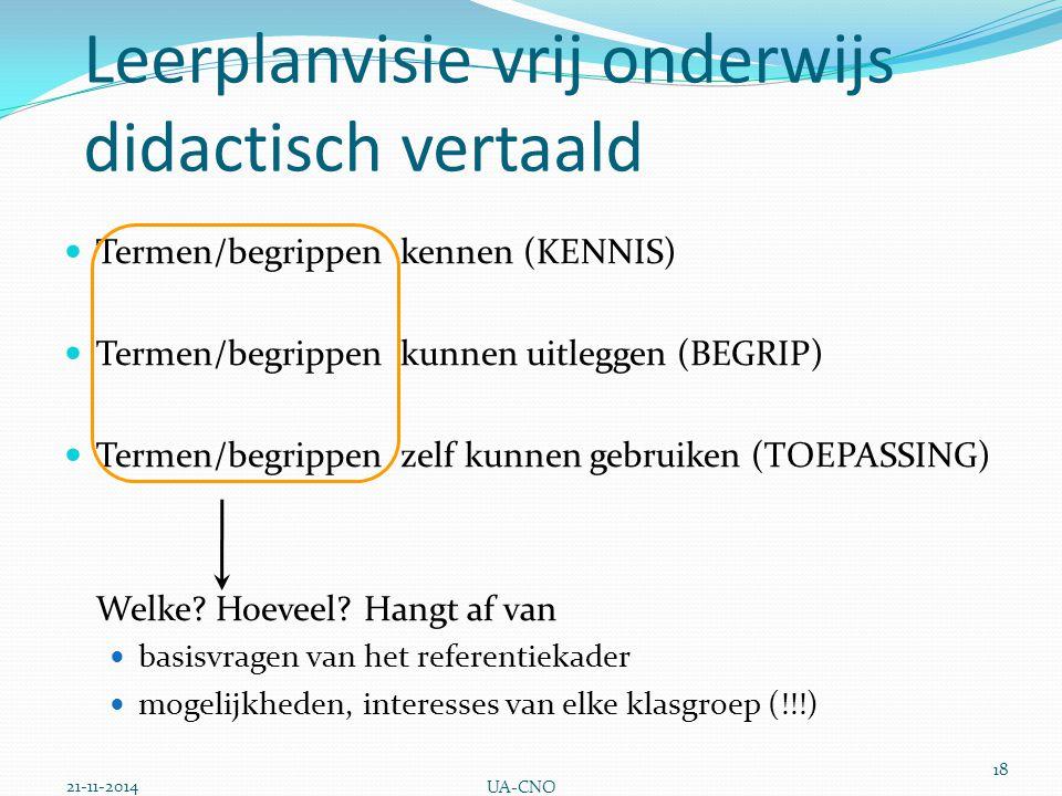Leerplanvisie vrij onderwijs didactisch vertaald Termen/begrippen kennen (KENNIS) Termen/begrippen kunnen uitleggen (BEGRIP) Termen/begrippen zelf kun