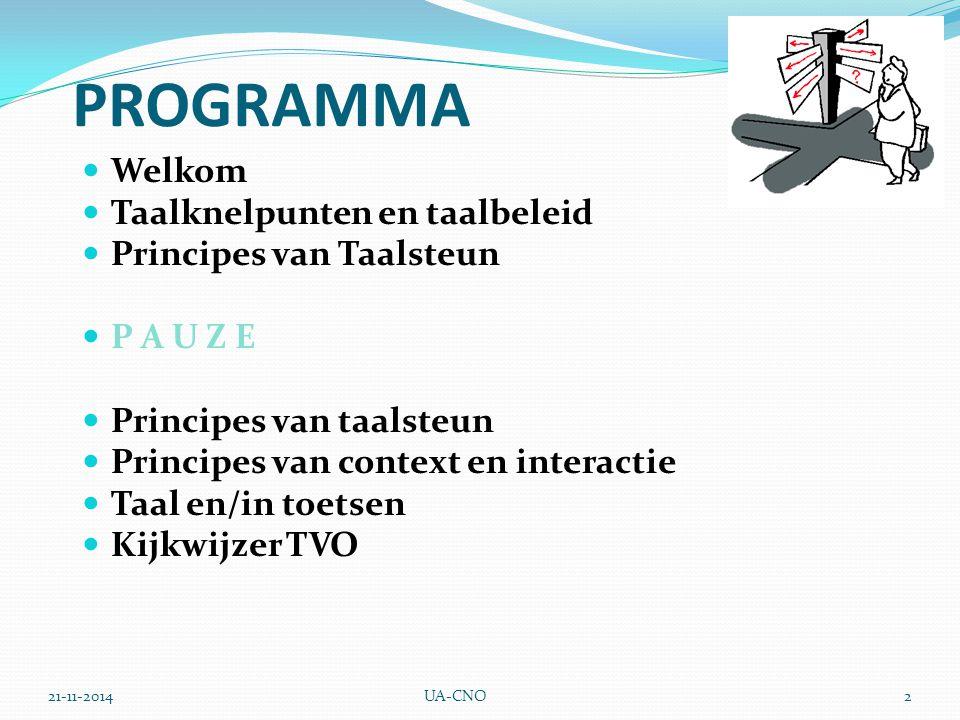 21-11-2014UA-CNO2 PROGRAMMA Welkom Taalknelpunten en taalbeleid Principes van Taalsteun P A U Z E Principes van taalsteun Principes van context en interactie Taal en/in toetsen Kijkwijzer TVO