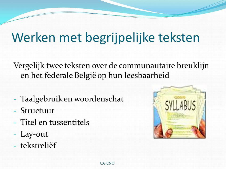 Werken met begrijpelijke teksten Vergelijk twee teksten over de communautaire breuklijn en het federale België op hun leesbaarheid - Taalgebruik en wo