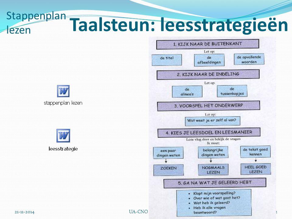 21-11-2014UA-CNO32 Stappenplan lezen Taalsteun: leesstrategieën
