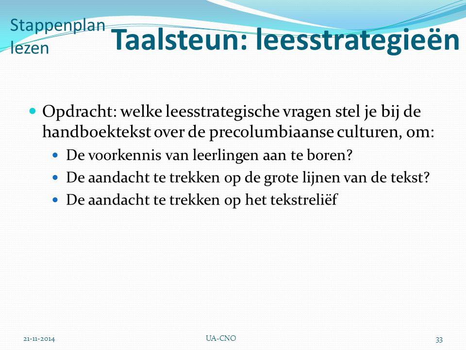 21-11-2014UA-CNO33 Stappenplan lezen Taalsteun: leesstrategieën Opdracht: welke leesstrategische vragen stel je bij de handboektekst over de precolumb