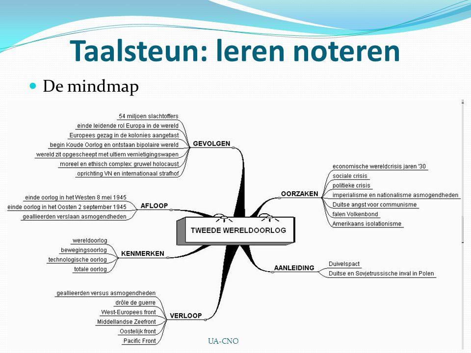 Taalsteun: leren noteren De mindmap UA-CNO