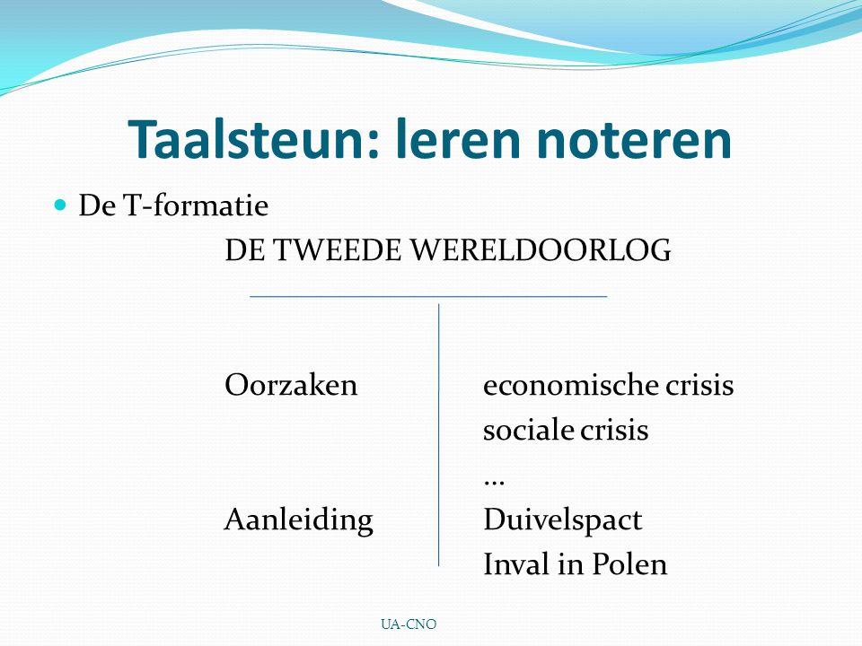 Taalsteun: leren noteren De T-formatie DE TWEEDE WERELDOORLOG Oorzakeneconomische crisis sociale crisis … AanleidingDuivelspact Inval in Polen UA-CNO