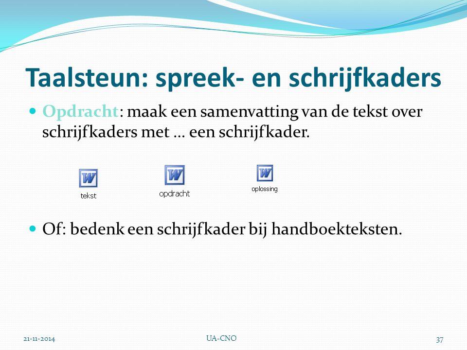 21-11-2014UA-CNO37 Taalsteun: spreek- en schrijfkaders Opdracht: maak een samenvatting van de tekst over schrijfkaders met … een schrijfkader. Of: bed