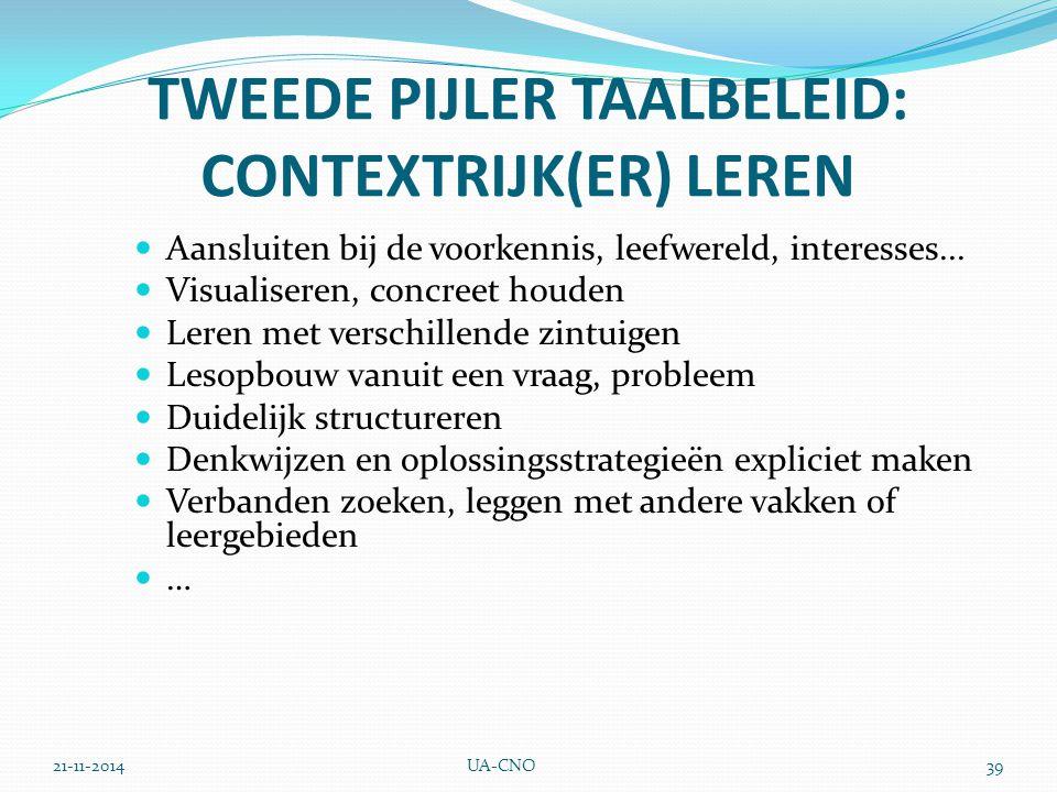 21-11-2014UA-CNO39 TWEEDE PIJLER TAALBELEID: CONTEXTRIJK(ER) LEREN Aansluiten bij de voorkennis, leefwereld, interesses... Visualiseren, concreet houd