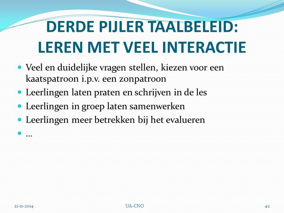 21-11-2014UA-CNO42 DERDE PIJLER TAALBELEID: LEREN MET VEEL INTERACTIE Veel en duidelijke vragen stellen, kiezen voor een kaatspatroon i.p.v.
