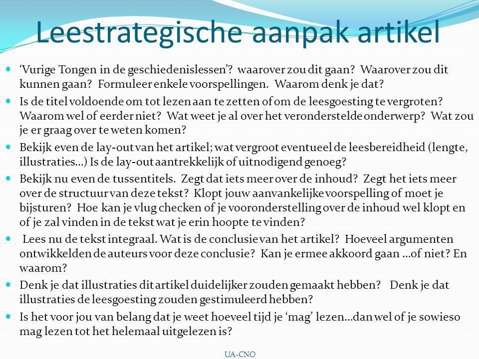 Leestrategische aanpak artikel 'Vurige Tongen in de geschiedenislessen'.