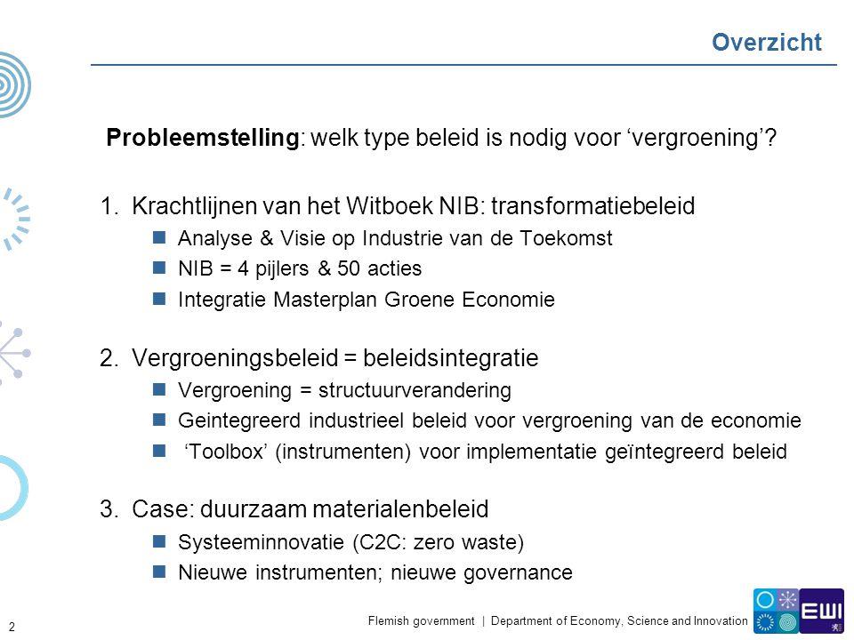 Flemish government | Department of Economy, Science and Innovation Overzicht Probleemstelling: welk type beleid is nodig voor 'vergroening'? 1.Krachtl