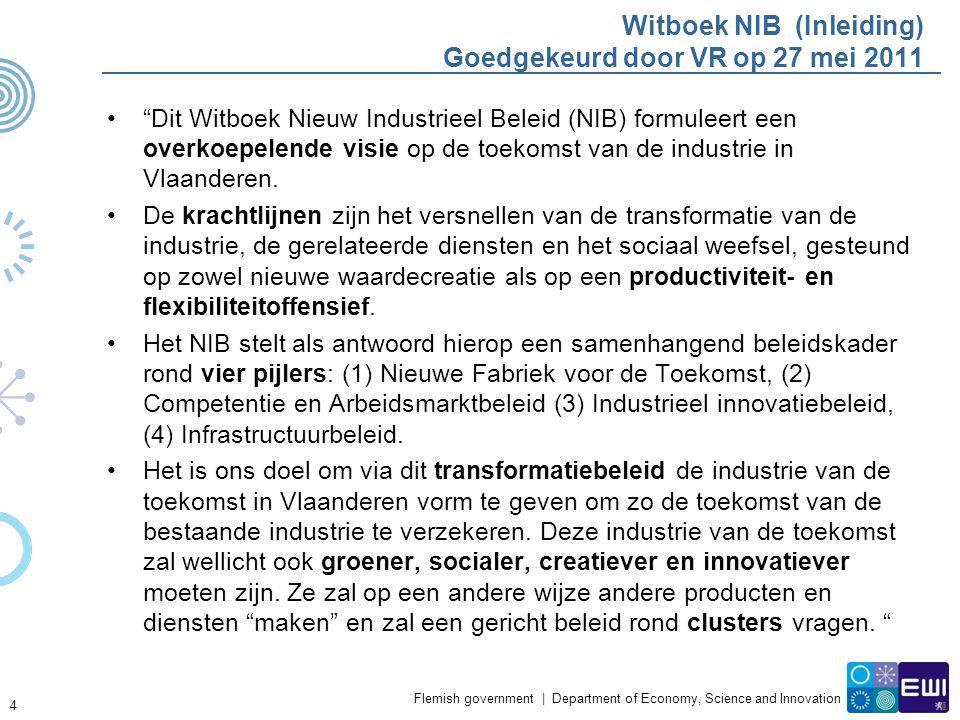 Flemish government | Department of Economy, Science and Innovation Witboek NIB (Inleiding) Goedgekeurd door VR op 27 mei 2011 Dit Witboek Nieuw Industrieel Beleid (NIB) formuleert een overkoepelende visie op de toekomst van de industrie in Vlaanderen.